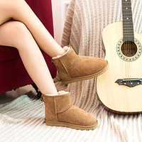 """UGG"" Fashion Winter Women Bowknot Flat Warm Snow Ankle Boots"