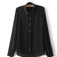 Studded Long-Sleeve Shirt Blouse from ICA'STORE