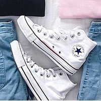 """Converse"" Fashion High tops Wine red Canvas Flats Sneakers Sport Shoes White"