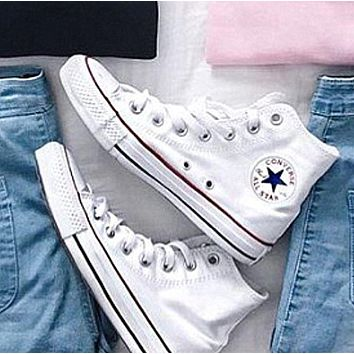 """""""Converse"""" Fashion High tops Wine red Canvas Flats Sneakers Sport Shoes White"""