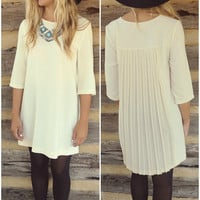 Top Of The Class Cream Shift Dress With Chiffon Pleated Back & Zipper Details