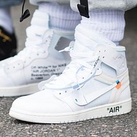 NIKE AIR JORDAN 1 x OFF WHITE Fashion Women Men Casual Sport Shoes Sneakers
