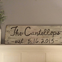 personalized family name sign last name sign wedding date established sign distressed wood sign rustic barnwood wedding gift engagement gift