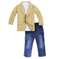 3 Pieces Baby Boys Shirt Jacket Jeans Set Toddler Pants Clothing
