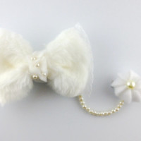 Kawaii Fuzzy White Lolita Dangle Whipped Cream Hair Bow with Pearl Strings & Lace