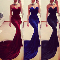 Women Sleeveless Long Ball Prom Gown Formal Cocktail Party Evening Dress