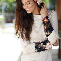 Taupe Floral Tunic With Hoodie