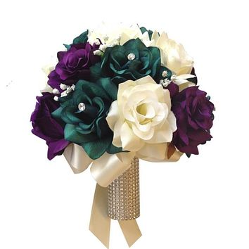 Bridal Bouquet - Oasis Teal, Ivory, and Purple Open Roses *Pick Ribbon Color*