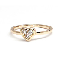 Three Stone Gold Heart Ring - Rachael Ryen Jewelry