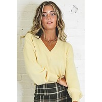 Leave A Message Yellow V Neck Sweater