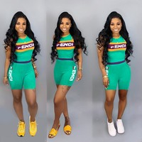 Fendi tide brand female letter print sexy short sleeve sports suit two-piece