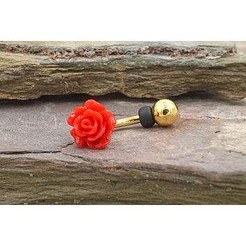 Red Rose Gold Daith Rook Earring