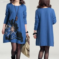 Embroidered Cotton Maternity Dress Plus Size Linen Clothes for Pregnant Wo Printed Autumn Winter Clothing For Pregnancy