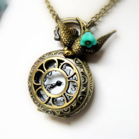 Pocket Watch Necklace with Bird Charm and Turquoise Czech Glassby mktENGINEER