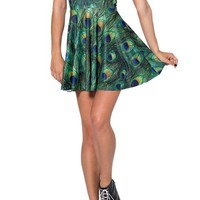 Summer Pleated Knee-length Digital Print Peacock pattern Reversible Skater Dress