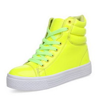 Womens High Top Leather candy Fashion Sneaker Skateboarding Plimsoll Sport Shoes
