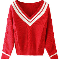 Red Contrast V-neck Cable Chunky Long Sleeve Jumper