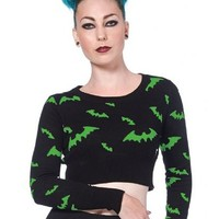 """Women's """"All Over Bats"""" Cropped Sweater by Voodoo Vixen (Black/Green)"""