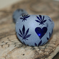 Hand Blown Tobacco Glass Pipe- The Leaf I Love Design