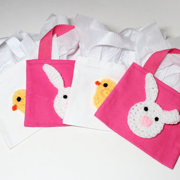 Easter Gift Bags, Bunny and Chick Party Favor Bags, Set of 4 Goodie Bags, Easter Candy Treat Bags