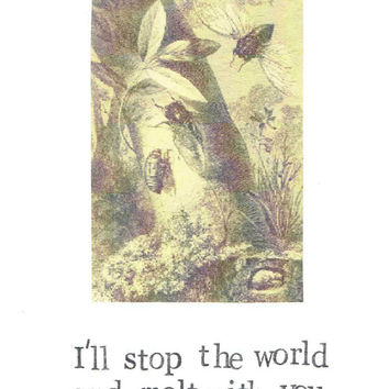 I'll Stop The World And Molt With You Insect Card | Funny Nature Valentine Love Humor Vintage Cicada Nerdy Pun Science Biology Anniversary