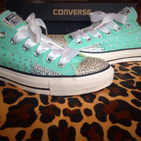 Full Ombre Rhinestone Converse with Ribbon Shoelaces