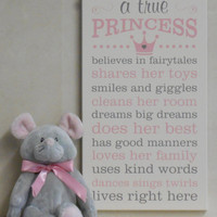Princess Decor, Princess Rules, A True Princess - Painted Wooden Pink and Gray Princess Crown Sign -  Princess Subway Art Baby Girl Nursery
