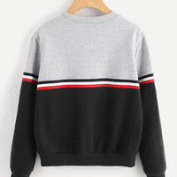 Striped Woven Tape Detail Two Tone Sweatshirt -SheIn(Sheinside)