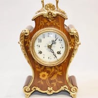 Canonbury - French Rococo Mantle Clock Marquetry Inlay
