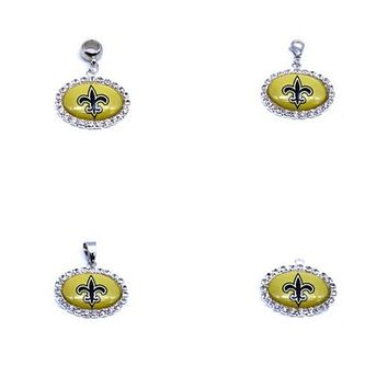 Silver Pendant Charms Rhinestone New Orleans Saints Charms for Bracelet Necklace for Women Men Football Fans Paty Fashion 2017