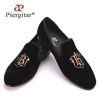 New style fashion men gold embroidery handmade men velvet shoes party and wedding men's flat