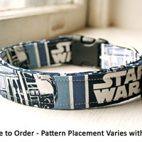Unofficial Star Wars Dog Collar, Handmade with Star Wars Fabric, R2D2 C3PO, Dog Accessories, Pet Accessories, Unofficial Star Wars Collar