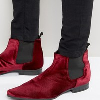 ASOS Chelsea Boots In Burgundy Velvet at asos.com