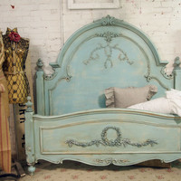 Painted Cottage Chic Shabby Aqua Queen Romance Bed