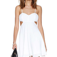 White Strappy Backless Chiffon Cut-out Dress