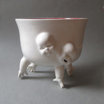 Large Standing Bowl w/Hands and Faces