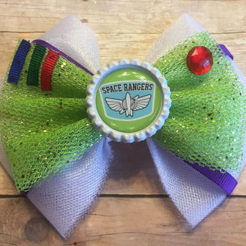 Space Ranger Inspired Hair Bow, Space Cadet, Austronaut, Toy, Handmade