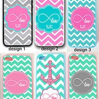MINT PINK CHEVRON LOVE INFINITY SIGN MONOGRAM CASE COVER FOR IPHONE 7+ 6S 6 SE 5