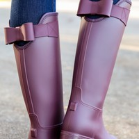 Sealed With A Bow Rain Boots-Bordeaux