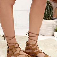 River Valley Camel Lace-Up Flat Sandals