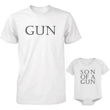 Daddy and Baby Matching White T-Shirt / Onesuit Combo - Gun and Son of A Gun