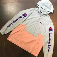 Champion New fashion print long sleeve coat windbreaker top Blue pink