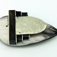 cow horn brooch with german silver