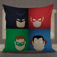 Batman,-Flash,-Green-Lantern,-Superman-Minimalistic-DC-Comics-pillow-case,-pillow-cover,-cute-and-awesome-pillow-covers