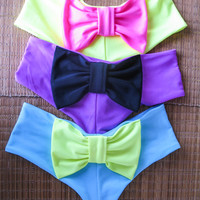 Low Rise Cheeky Bow Bikini Bottom--Light Turquoise with Neon Yellow Bow