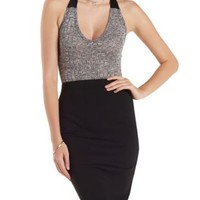 Charcoal Caged-Back Ribbed & Marled Bodysuit by Charlotte Russe