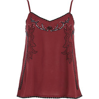 River Island Womens Dark red floral embroidered cami