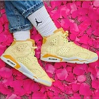 Air Jordan 6 GS Floral AJ6 Floral High top Embroidered Women's Shoes