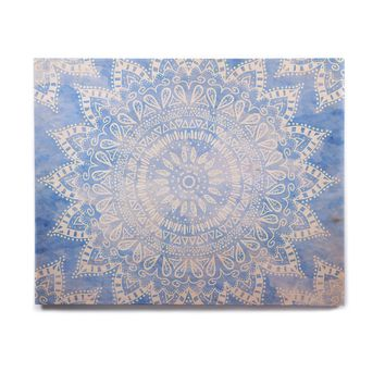 "Nika Martinez ""Boho Flower Mandala in Blue"" Aqua Birchwood Wall Art"