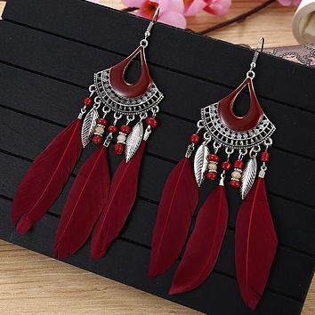Exaggerated fringed feather earrings, personality and sexy lady fan-shaped bead earring Stockings Shoes Dress Bikini bag